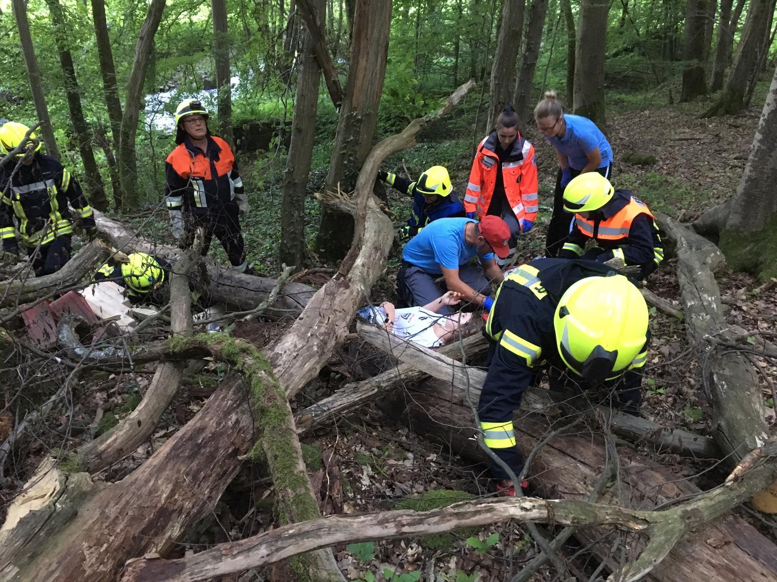 Ersthelfer-Feuerwehr – Eingeklemmte Person nach Waldunfall